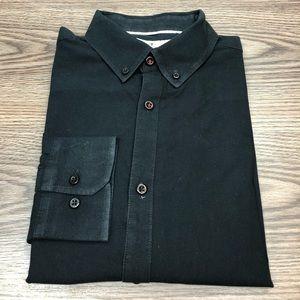 Five Four Solid Black Slim Fit Shirt L